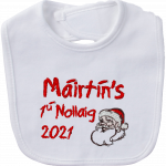 Christmas Bib personalised embroidered baby gift new born babygift delivered name cotton on Personalised gifts Ireland Christmas Baby's 1st Christmas Baby's first Christmas 1ú Nollaig