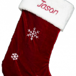 Snowflake Santa Stocking Christmas Sock Christmas Stocking with embroidery Personalised Christmas Stocking Santa Stocking Burgundy Velvet Rich Luxury White Top embroidered with name