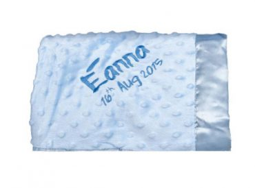 Dimple Pram Blanket personalised embroidered baby gift blanket new born babygift delivered name date of birth cotton on Blue