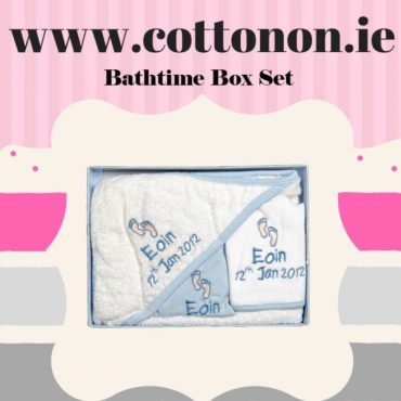 Baby Hooded Towel, Baby grow and Bib set Pink or Blue with embroidery cotton on personalised set gift name date of birth beautiful embroidered gift cute feet motif