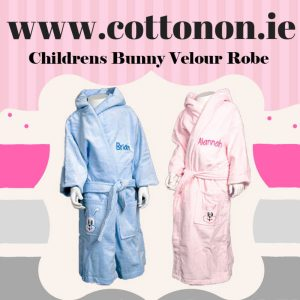 Childrens Cotton Bathrobe Bunny Design Velour finish personalised embroidered baby gift new born babygift delivered name cotton on Pink Blue
