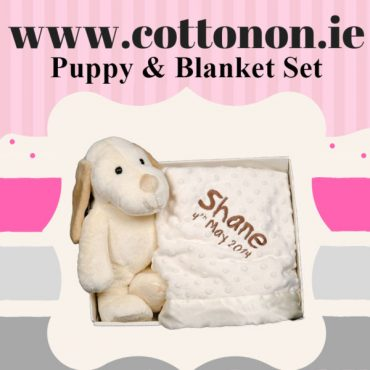 personalised gifts ireland Puppy and Blanket Box Set personalised embroidered baby gift blanket teddy new born babygift delivered boxset name date of birth cotton on Cream
