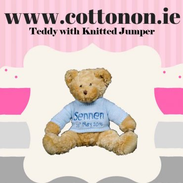 personalised gifts ireland Teddy with knitted jumper, Cotton on personalised gift Beautiful Baby Gifts name newborn birthday