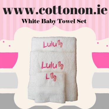 Baby Towel Set White with Pink or Blue embroidery cotton on personalised set gift Hand towel, Bath Towel name beautiful embroidered gift cute feet motif
