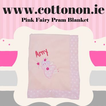 personalised gifts ireland Pink Fairy Pram Blanket personalised embroidered baby gift blanket new born babygift delivered name date of birth cotton on gifts