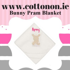 Bunny pram blanket personalised embroidered baby gift blanket new born babygift delivered name date of birth cotton on Cream