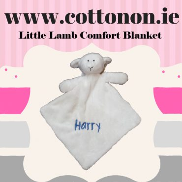 Little Lamb Comfort Blanket Blankie personalised embroidered baby gift blanket new born babygift delivered name cotton on Cream Personalised gifts Ireland