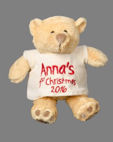 first Christmas 1st Christmas honey bear Red embroidery personalised gift Cotton On Cute Name