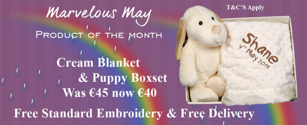 Cotton On personalised gifts product of the month, Cream puppy Cream pram blanket personalised with baby name and date of birth, baby gift set, new arrival gift, Cottonongifts