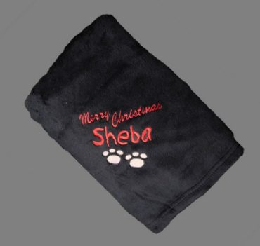 Personalised Doggie Blanket dog cotton on blanket black merry christmas
