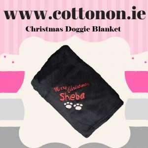 Personalised Dog Blanket Merry Christmas embroidered Personalised Cotton On Personalised Christmas gifts Ireland Dog gift Puppy Gift