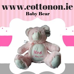 personalised gifts ireland baby bear, pink, blue, Cotton on personalised gift name newborn birthday