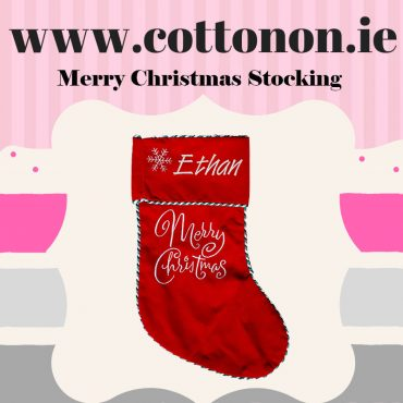 Personalised Christmas Stocking embroidery Personalised Santa Stocking Xmas Stocking Red Merry Christmas Cotton On Personalised Christmas gifts Ireland