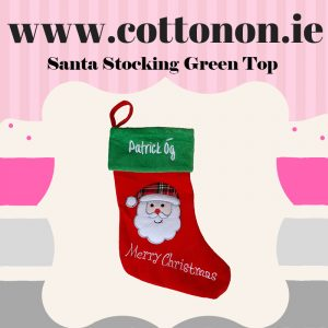Personalised Christmas Stocking embroidery Personalised Santa Stocking Xmas Stocking Red 3D SnSanta Cotton On Personalised Christmas gifts Ireland
