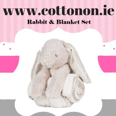 personalised gifts ireland Rabbit with Blanket personalised by Cotton On will make a great alternative to an Easter egg embroidered with embroidery thread