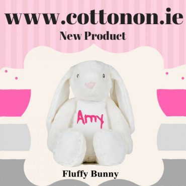 personalised gifts ireland Fluffy Bunny personalised by Cotton On will make a great alternative to an Easter egg embroidered with chocolate coloured thread.