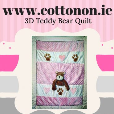 personalised gifts ireland 3D Teddy Bear Quilt Blanket personalised embroidered baby gift blanket new born babygift delivered name date of birth cotton on