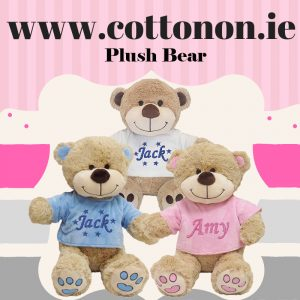 Personalised Plush Bear with Name, Cotton On Personalised gifts Ireland, Made to order, Delivered within 2-3 working days Shop In Ireland Shop Local