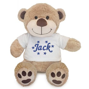 Personalised White Plush Bear with Name in Stars, Cotton On Personalised gifts Ireland, Made to order, Delivered within 2-3 working days Shop In Ireland Shop Local