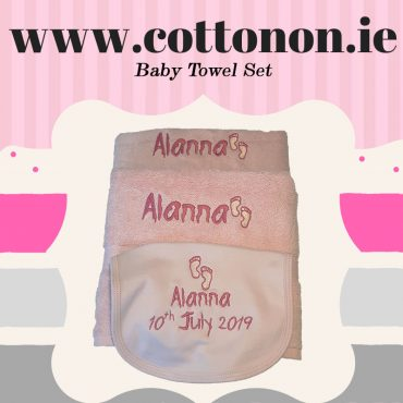 personalised gifts ireland Baby Towel Set Pink or Blue cotton on personalised set gift bib Hand towel, Bath Towel name date of birth beautiful embroidered gift