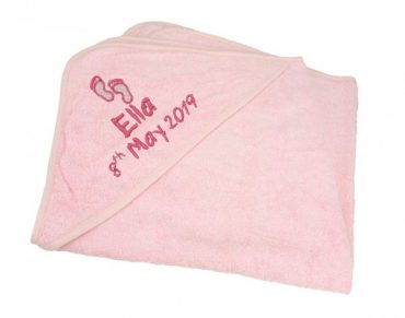 Hooded Towel Pink cotton on personalised set gift bib hooded towel, pink blue name date of birth beautiful embroidered gift