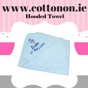 personalised gifts ireland Hooded Towel Blue cotton on personalised set gift bib hooded towel, pink blue name date of birth beautiful embroidered gift