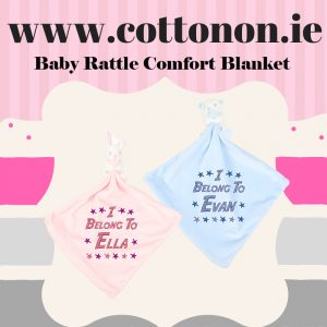 Baby Rattle Comfort Blanket Blankie personalised embroidered baby gift blanket new born babygift delivered name cotton on Pink Blue Rattle Personalised gifts Ireland