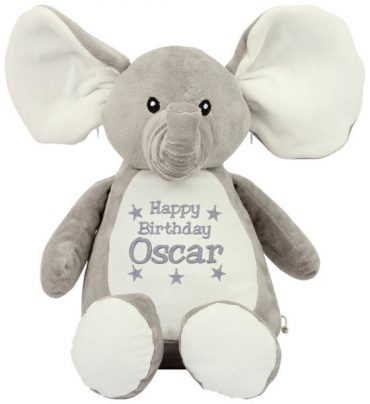 Personalised bear Zippie Buddie personalised by Cotton On Gift for birthday. personlaised baby gift Cotton On Gifts. Owl, Bunny, Elephant, Bear Dinosaur