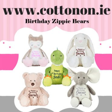 personalised gifts ireland Personalised bear Zippie Buddie personalised by Cotton On Gift for birthday. personlaised baby gift Cotton On Gifts. Owl, Bunny, Elephant, Bear Dinosaur