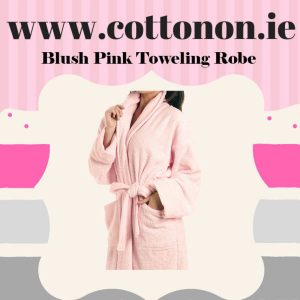 Blush Pink Towelling Bathrobe unisex, 100% Cotton Personalised embroidered birthday anniversary, Cotton On Gifts