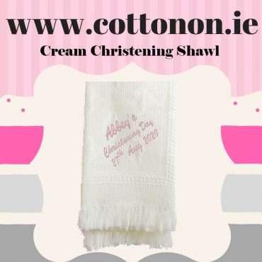 christening shawl ireland Cream Personalised Christening Shawl Honeycomb Cotton On Embroidered Keepsake Christening gift Christening Day Personalised Gifts Ireland