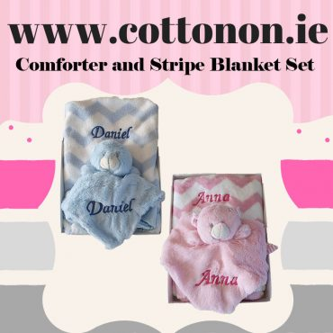 personalised gifts ireland Stripe Pram Blanket and Comforter Set personalised embroidered baby gift blanket teddy new born babygift delivered boxset name date of birth cotton on comforter