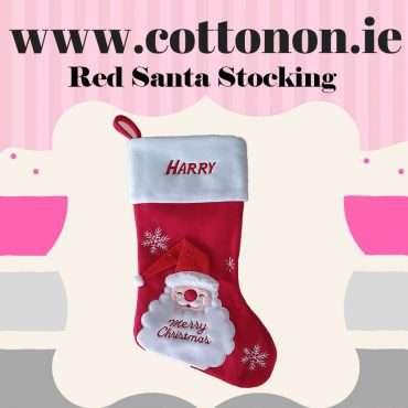 New Red Personalised Christmas Stocking embroidery Personalised Santa Stocking Xmas Stocking Red 3D Santa Hat Cotton On Personalised Christmas gifts Ireland