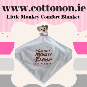 Little Monkey Comfort Blanket Blankie personalised embroidered baby gift blanket new born babygift delivered name cotton on Cream Personalised gifts Ireland