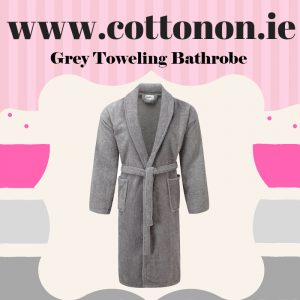 Grey Towelling Bathrobe unisex, 100% Cotton Personalised embroidered birthday anniversary Fathers day Best dad ever, Cotton On Gifts