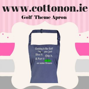 personalised Golf Theme embroidered Adult Apron Valentine gifts delivered cotton on Personalised gifts Ireland