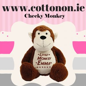 Personalised Monkey with embroidered lettering Cotton On Personalised gifts Ireland Cheeky Monkey Baby gift Birthday gift