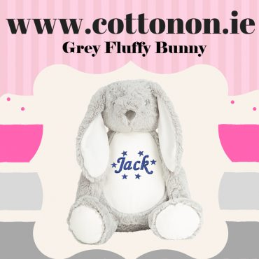 personalised gifts ireland Grey Fluffy Bunny personalised by Cotton On Easter Bunny embroidered Name Birth Details Personalised Easter Bunny