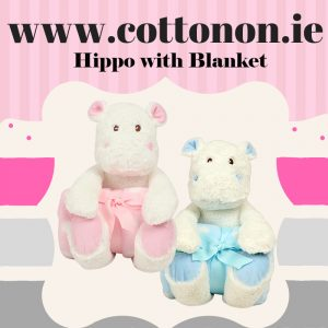 Personalised Hippo with Blanket embroidered lettering Cotton On Personalised gifts Ireland Baby gift Birthday gift