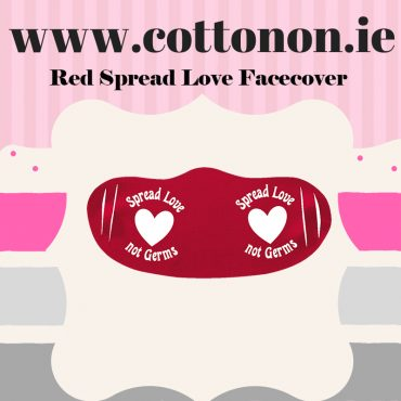 Red Spread love not Germs Face cover Face mask Valentines Day accessory Red keepsake cotton on Personalised Valentines Gifts Ireland Cotton On