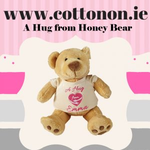 A Hug from honey Bear Personalised Bear with Name, Cotton On Personalised gifts Ireland, Made to order, Delivered within 2-3 working days Shop In Ireland Shop Local