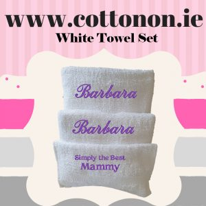 White Towel Set Cotton on personalised set gift Hand towel, Bath Towel name Mothers Day Gift Script