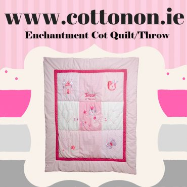 Cotton On Gifts Personalised Cot Throw Quilt Name Date of Birth Beautiful embroidered gifts shop in ireland personlaised gifts baby gifts