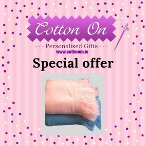 Personlasied Shawl Pram Blanket Pink Blue Special offer Cotton On Personalised baby blanket Ireland