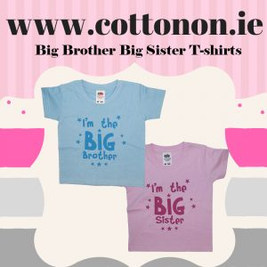 Printed Big Brother Big Sister t-shirt with Name, Cotton On Personalised gifts Ireland, Made to order, Delivered within 2-3 working days Shop In Ireland Shop Local