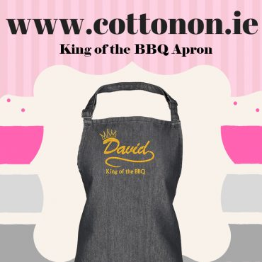 King of the BBQ Apron personalised embroidered Adult Apron Fathers Day gifts delivered cotton on Personalised gifts Ireland