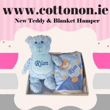 Personalised Bear and Blanket Hamper personalised embroidered baby gift blanket teddy new born babygift delivered name cotton on