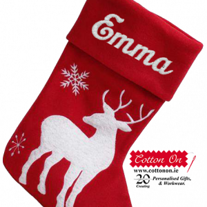 Embroidered Personalised Christmas Stocking Red Reindeer Christmas Sock personalsied by Cotton On Personalised gift Christmas Bib personalised embroidered baby gift delivered name cotton on Red Personalised gifts Ireland Christmas Baby's 1st Christmas Baby's first Christmas 1ú Nollaig
